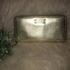 LAUREN Ralph Lauren Gold Zip Around Wallet